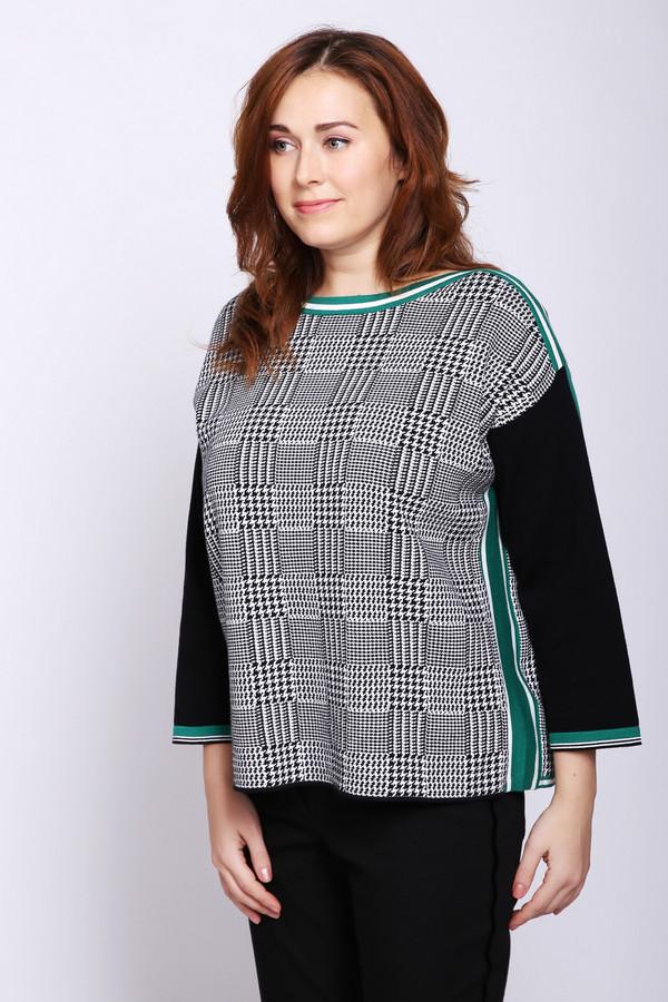 Пуловер OuiПуловеры<br>Пуловер женский серого цвета фирмы Oui. Модель выполнена прямым фасоном. Изделие дополнено округлым воротом, приспущенными рукавами 3/4 длинны. Рукава изготовлены из зеленой и черной ткани. Состав ткани: 100% хлопка. Сочетать можно с различными брюками.