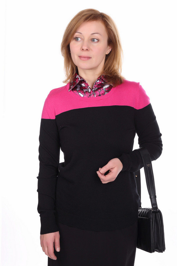 Пуловер PezzoПуловеры<br>Пуловер для женщин от бренда Pezzo. Это пуловер простого покроя, с длинным рукавом и круглым вырезом. Он сделан из материала, который на 45% состоит из вискоза, на 30% из хлопка и на 25% из нейлона, благодаря чему очень тонкий, но одновременно мягкий и удобный. Пуловер выполнен в черном цвете, а его плечевая часть в розовом.<br><br>Размер RU: 42<br>Пол: Женский<br>Возраст: Взрослый<br>Материал: хлопок 30%, нейлон 25%, вискоза 45%<br>Цвет: Разноцветный