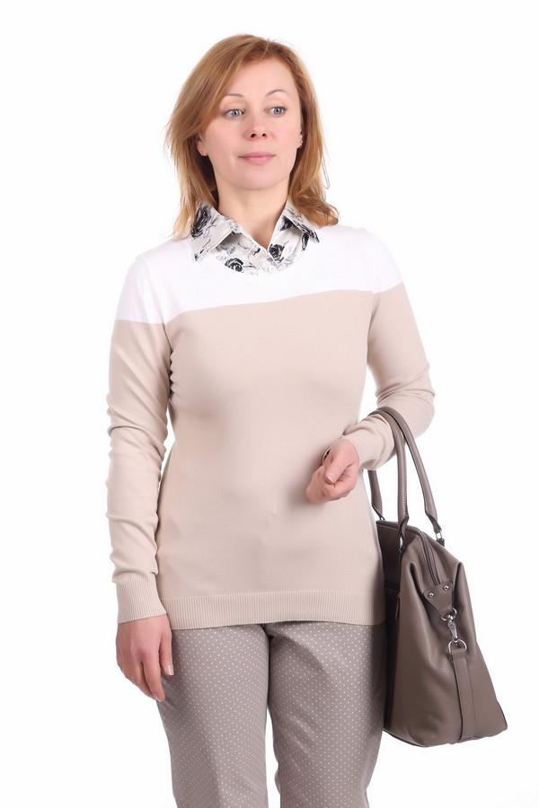 Пуловер PezzoПуловеры<br>Классический женский пуловер фирмы Pezzo. Это пуловер бежевого цвета с белым верхом. Изделие дополнено: круглым вырезом и длинным рукавом. Данный пуловер сделан из материала, который на 45% состоит из вискозы, на 30% из хлопка и на 25% из нейлона. Вырез, рукава и низ также дополнены резинкой.<br><br>Размер RU: 50<br>Пол: Женский<br>Возраст: Взрослый<br>Материал: хлопок 30%, нейлон 25%, вискоза 45%<br>Цвет: Разноцветный