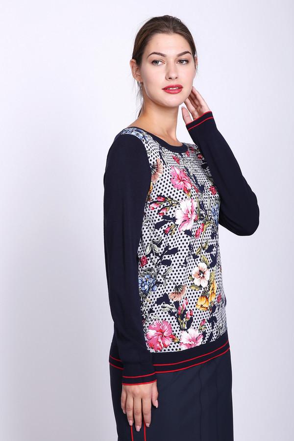 Пуловер TaifunПуловеры<br>Пуловер женский синего цвета фирмы Taifun. Модель выполнена прямым покроем. Изделие дополнено округлым воротом, втачными, длинными рукавами. Передняя часть имеет разноцветный принт. Окружность ворота обшита бейкой синего цвета. Состав ткани состоит из 78% вискозы, 22% полиамида. Гармонировать можно с различными юбками, брюками.