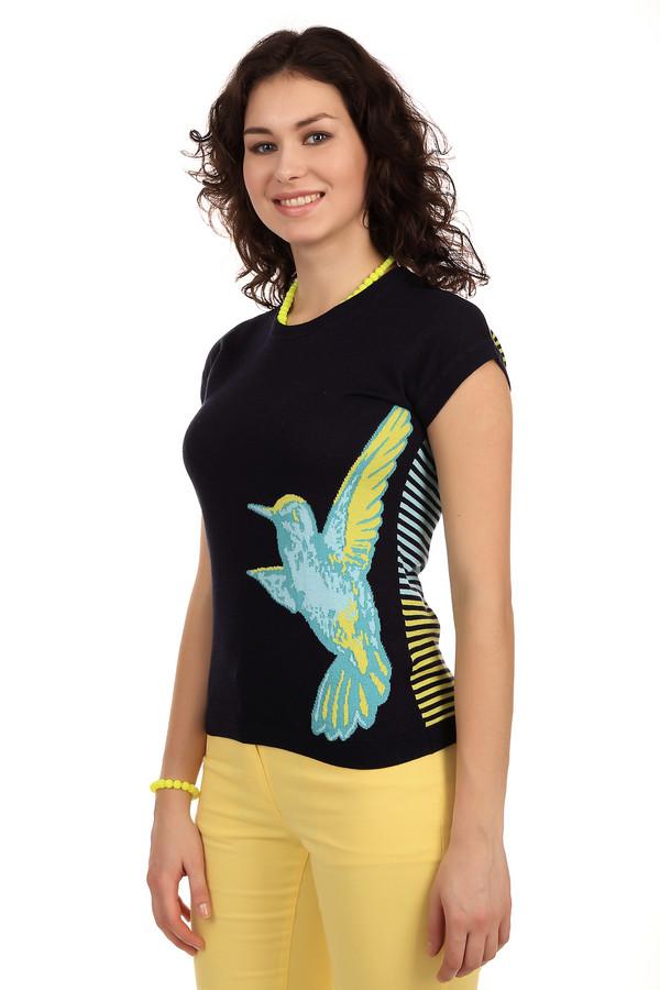 Пуловер PezzoПуловеры<br>Легкий женский пуловер от бренда Pezzo. Это пуловер черного цвета, в желто-голубую полоску на задней части изделия и с изображением колибри в голубых и желтых тонах на передней части. Изделие дополнено коротким рукавом и круглым вырезом. Материал, из которого изготовлено данное изделие, на 60% состоит из вискозы, и на 40% из хлопка.<br><br>Размер RU: 46<br>Пол: Женский<br>Возраст: Взрослый<br>Материал: вискоза 60%, хлопок 40%<br>Цвет: Чёрный