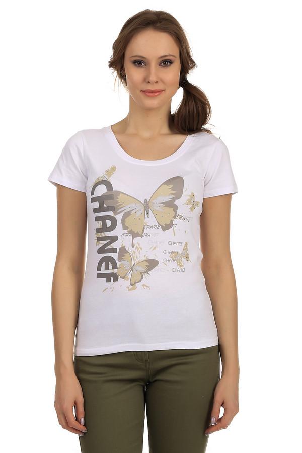 Футболка PezzoФутболки<br>Женская футболка от бренда Pezzo прилегающего кроя представлена в белом цвете. Изделие дополнено: круглым вырезом горловины и короткими рукавами. Футболка декорирована летним принтом в виде бабочек украшенных стразами. Идеальный вариант для повседневного использования.<br><br>Размер RU: 46<br>Пол: Женский<br>Возраст: Взрослый<br>Материал: хлопок 95%, спандекс 5%<br>Цвет: Белый