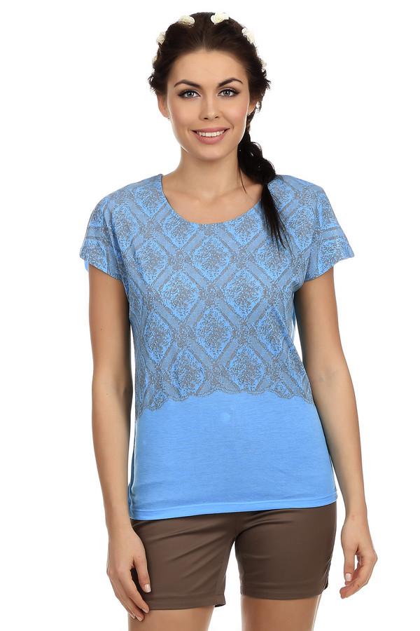 Футболка PezzoФутболки<br>Оригинальная женская футболка ярко-голубого цвета от бренда Pezzo прямого кроя. Изделие дополнено:-u-образным вырезом, удлиненной спинкой и короткими рукавами-крылышко до середины плеча. Футболка декорирована цветочно-геометрическим принтом в сером цвете. Прекрасно будет сочетаться как с   юбками  , так и с   шортами  .<br><br>Размер RU: 44<br>Пол: Женский<br>Возраст: Взрослый<br>Материал: полиэстер 65%, вискоза 35%<br>Цвет: Серый