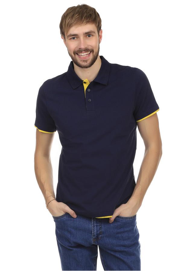 Поло PezzoПоло<br>Поло Pezzo  темно-синего  цвета, изготовленное из хлопка с незначительным добавлением спандекса. Основание рубашки и застежка украшены вставками из ткани жёлтого цвета. Поло застегивается на три пуговицы черного цвета. Такая одежда идеально подойдет для повседневного ношения в теплое время года.<br><br>Размер RU: 46<br>Пол: Мужской<br>Возраст: Взрослый<br>Материал: хлопок 95%, спандекс 5%<br>Цвет: Разноцветный