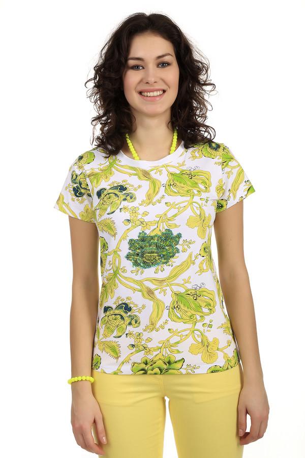 Футболка PezzoФутболки<br>Футболка женская от торговой марки Pezzo. Данное изделие представлено в белом цвете с крупным цветочным принтом в желто-зеленой гамме, украшенным бисером и пайетками. Эта модель дополнена коротким рукавом и полукруглым вырезом. Состав изделия - хлопок с добавлением спандекса.<br><br>Размер RU: 44<br>Пол: Женский<br>Возраст: Взрослый<br>Материал: хлопок 95%, спандекс 5%<br>Цвет: Разноцветный