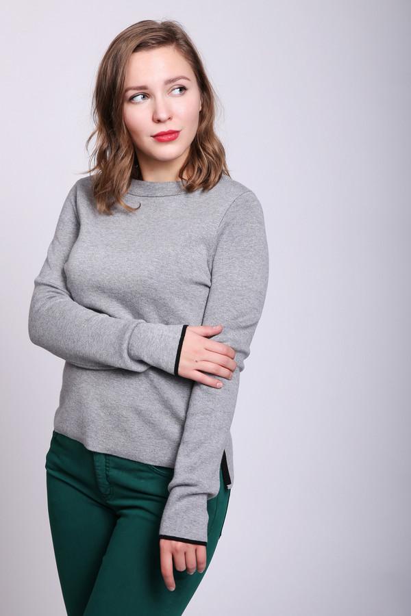 Пуловер TaifunПуловеры<br>Пуловер женский серого цвета фирмы Taifun. Модель выполнена прямым покроем. Изделие дополнено круглым воротом, длинными рукавами, задней застежкой молния черного цвета. Состав ткани состоит из 50% хлопок, 50% модал. Гармонировать можно с различными брюками, юбками.