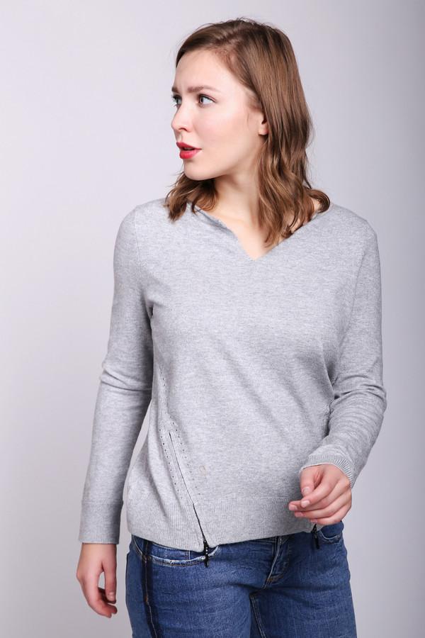 Пуловер CommaПуловеры<br>Пуловер женский серого цвета фирмы Comma. Модель выполнена прямым фасоном. Изделие дополнено округлым воротом с V - образным разрезом, втачными, длинными рукавами, разрезами на молнию. Ткань состоит из 62%вискозы, 28% полиэстера, 10% шерсти. Сочетать можно с различными брюками.