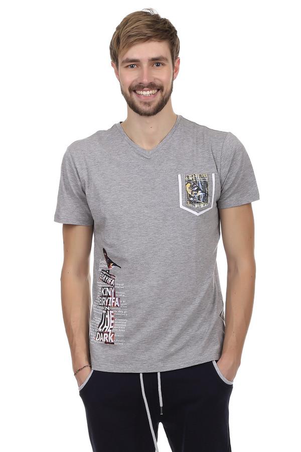 Футболкa Just ValeriФутболки<br>Модная мужская футболка от бренда Just Valeri. Футболка прилегающего кроя выполнена в сером цвете. Изделие дополнено: v-образным вырезом, одним накладным карманом и короткими рукавами. На футболке напечатан неординарный принт на спине, на кармане, а также на боку. Эта модная вещь способна вписаться и сделать стильным любой образ. Она очень удобная и практична, благодаря сочетанию состава ткани, из которого пошита.<br><br>Размер RU: 54<br>Пол: Мужской<br>Возраст: Взрослый<br>Материал: хлопок 50%, спандекс 5%, модал 45%<br>Цвет: Серый