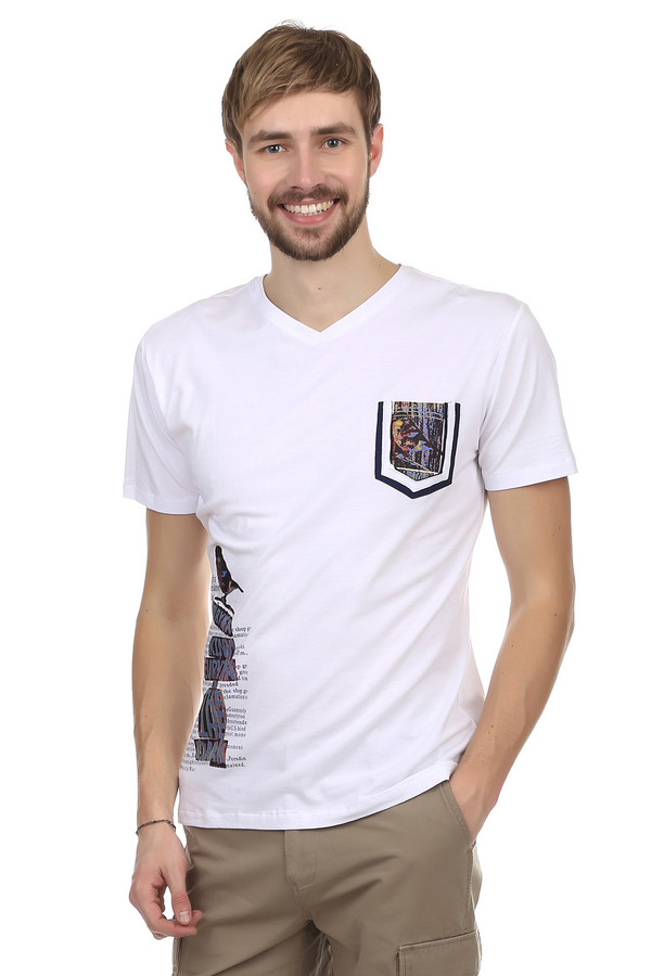 Футболкa Just ValeriФутболки<br>Модная мужская футболка от бренда Just Valeri. Футболка прилегающего кроя выполнена в белом цвете. Изделие дополнено: v-образным вырезом, одним накладным карманом и короткими рукавами. На футболке напечатан неординарный принт на спине, на кармане, а также на боку. Эта модная вещь способна вписаться и сделать стильным любой образ. Она очень удобная и практична, благодаря сочетанию состава ткани, из которого пошита.<br><br>Размер RU: 50<br>Пол: Мужской<br>Возраст: Взрослый<br>Материал: хлопок 50%, спандекс 5%, модал 45%<br>Цвет: Белый
