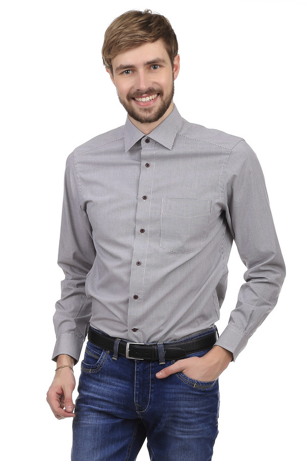 Рубашка с длинным рукавом PezzoДлинный рукав<br>Рубашка с длинным рукавом Pezzo серого цвета, изготовлена из хлопка с добавлением полиэстер. Ворот оформлен в треугольной форме. Рубашка застегивается на миниатюрные пуговицы черного цвета. На груди есть небольшой карман, который никак не декорирован, поэтому практически сливается с цветовым фоном. Удобный крой позволяет носить рубашку, как на работу, так и в повседневной жизни. Качественный состав ткани оказывает приятные ощущения для кожи, во время ношения рубашки.<br><br>Размер RU: 45<br>Пол: Мужской<br>Возраст: Взрослый<br>Материал: полиэстер 37%, хлопок 63%<br>Цвет: Разноцветный