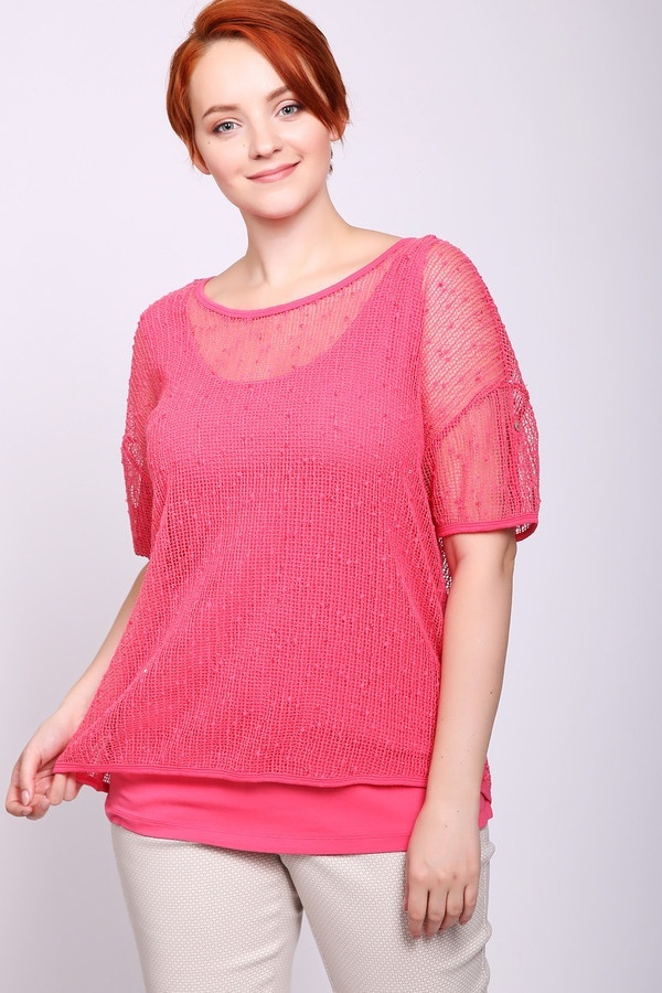 Фото 2 - Женский пуловер Via Appia розового цвета