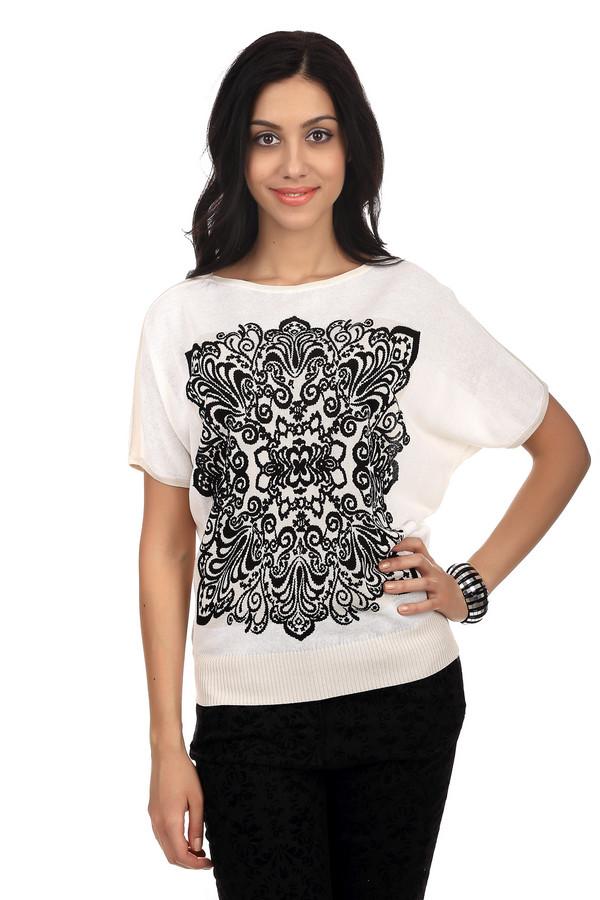 Пуловер PezzoПуловеры<br>Стильный женский пуловер белого цвета от бренда Pezzo. Данная модель сшита по свободному покрою. Изделие дополнено: рукавом длиной до середины плеча, вырезом-лодочкой, низом на резинке, а также абстрактным узором черного цвета на передней части. Этот пуловер пошит из вискозы с добавлением хлопка.<br><br>Размер RU: 50<br>Пол: Женский<br>Возраст: Взрослый<br>Материал: вискоза 70%, хлопок 30%<br>Цвет: Белый