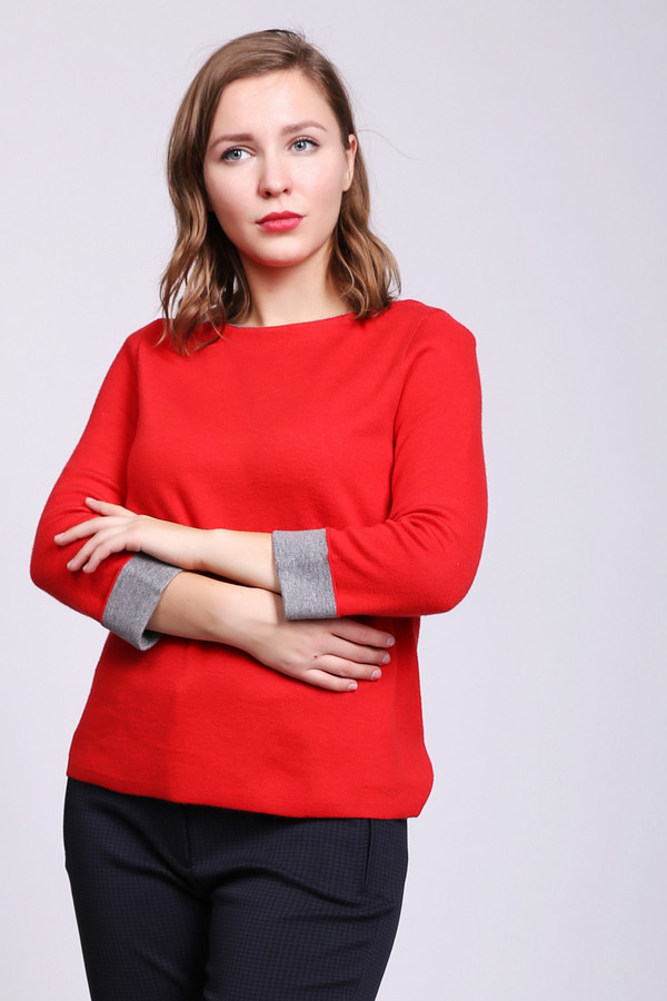 женский пуловер comma, красный