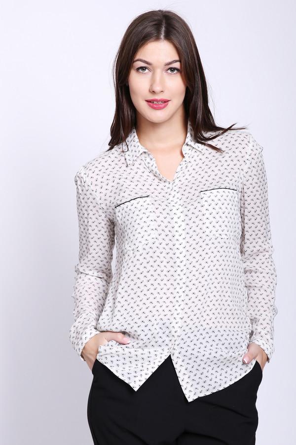 Блузa OuiБлузы<br>Блуза женская белого цвета фирмы Oui. Модель выполнена прямым фасоном. Изделие дополнено откладным воротом, застежка на пуговицы, втачными, длинными рукавами с манжетами на пуговицу, передними, накладными карманами, задней кокеткой и складкой. Ткань состоит из 100% вискозы. Сочетать можно с различными брюками.