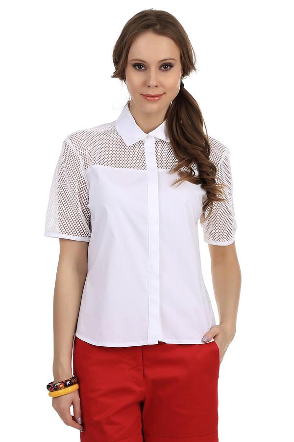 Рубашка с коротким рукавом SteilmannКороткий рукав<br>Женская рубашка белого цвета от фирмы Steilmann. Это рубашка-тенниска свободного кроя, с отложным воротником, рукавом длиной до середины плеча, а также скрытыми пуговицами. Рукава и передняя кокетка сделана из сетки. Материал — смесь хлопка и полиамида, с добавлением эластана.<br><br>Размер RU: 44<br>Пол: Женский<br>Возраст: Взрослый<br>Материал: эластан 3%, полиамид 22%, хлопок 75%<br>Цвет: Белый