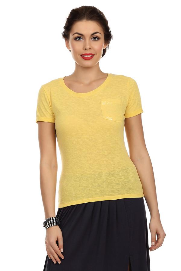 Футболка PezzoФутболки<br>Женская желтая футболка от бренда Pezzo прилегающего кроя выполнена из полупрозрачной ткани. Изделие дополнено: круглым вырезом, короткими рукавами до середины плеча и накладным грудном карманом. Карман декорирован пайетками в цвет. Изделие выполнена из приятного на ощупь материла и идеально подойдет для летнего периода.<br><br>Размер RU: 40<br>Пол: Женский<br>Возраст: Взрослый<br>Материал: полиэстер 50%, хлопок 40%, вискоза 10%<br>Цвет: Жёлтый