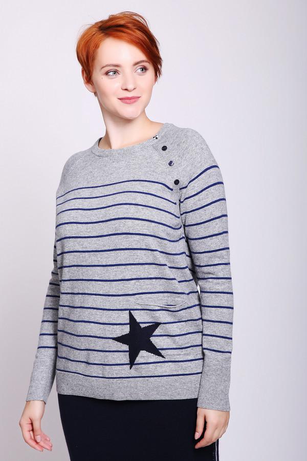 Пуловер Gerry WeberПуловеры<br>Пуловер женский серого цвета фирмы Gerry Weber. Модель выполнена прямым покроем. Изделие дополненоокруглым воротом, длинными рукавами реглан. По всему пуловеру расположены горизонтальные полосы. На левом реглане пришиты пуговицы, в низу расположена аппликация в виде звезды. Состав ткани состоит из 40% вискозы, 40% полиамида, 20% шерсти. Гармонировать можно с различными брюками, юбками.