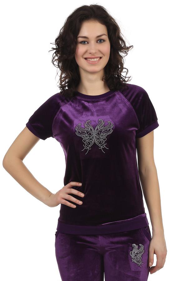 Футболка Just ValeriФутболки<br>Велюровая фиолетовая футболка Just Valeri прилегающего кроя. Изделие дополнено: круглым вырезом под горло и короткими рукавами-реглан. Футболка подойдет как для занятия спортом, так и для прогулки в парке. В комплект к футболки подходят  брюками Just Valeri .<br><br>Размер RU: 46<br>Пол: Женский<br>Возраст: Взрослый<br>Материал: полиэстер 95%, спандекс 5%<br>Цвет: Фиолетовый