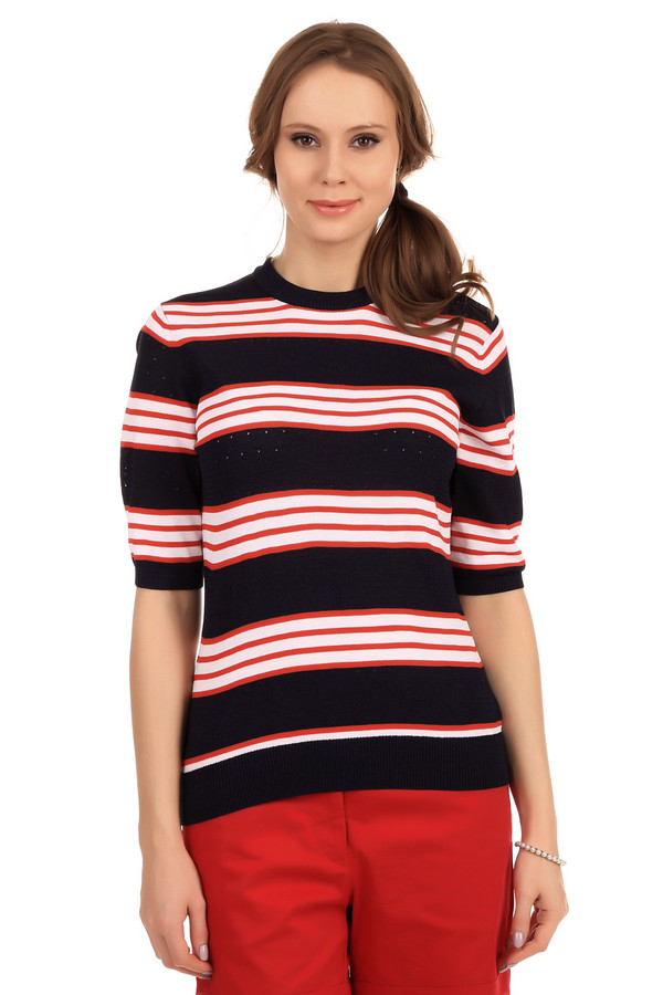 Пуловер PezzoПуловеры<br>Модный женский пуловер темно-синего цвета в красную и белую полоску. Это пуловер с перфорацией от бренда Pezzo с круглым вырезом, рукавом длиной до локтя и низом на резинке. Изделие изготовлено из вискозы с небольшим процентом полиамида.<br><br>Размер RU: 46<br>Пол: Женский<br>Возраст: Взрослый<br>Материал: вискоза 65%, полиамид 35%<br>Цвет: Разноцветный