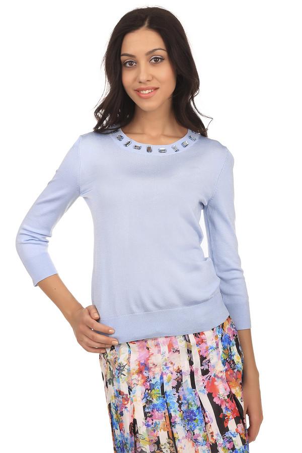 Пуловер PezzoПуловеры<br>Стильный женский пуловер светло-голубого оттенка. Это пуловер от бренда Pezzo, связанный в технике мелкой вязки. Изделие дополнено: круглым вырезом на резинке, рукавом три четверти на резинке, низом на резинке, а также камнями светло-голубого цвета по контуру выреза.<br><br>Размер RU: 48<br>Пол: Женский<br>Возраст: Взрослый<br>Материал: вискоза 75%, полиамид 22%, спандекс 3%<br>Цвет: Сиреневый
