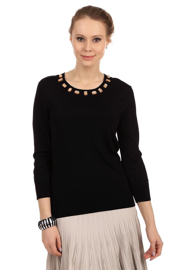 Пуловер PezzoПуловеры<br>Стильный женский пуловер черного цвета. Это пуловер от бренда Pezzo, связанный в технике мелкой вязки. Изделие дополнено: круглым вырезом на резинке, рукавом три четверти на резинке, низом на резинке, а также камнями  светло-бежевого  цвета по контуру выреза.<br><br>Размер RU: 46<br>Пол: Женский<br>Возраст: Взрослый<br>Материал: вискоза 75%, полиамид 22%, спандекс 3%<br>Цвет: Чёрный