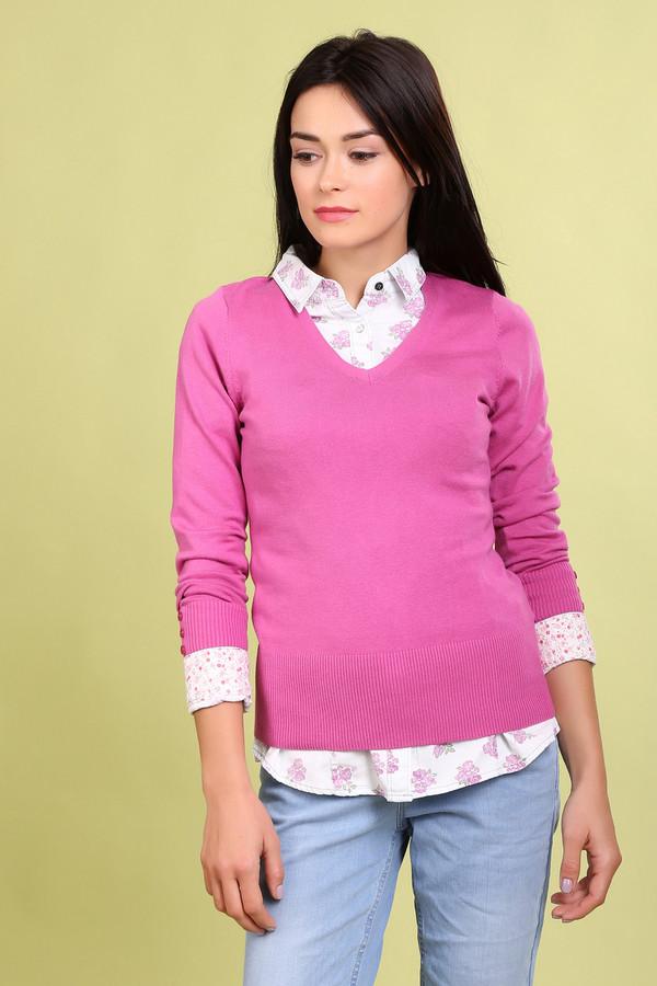 Пуловер PezzoПуловеры<br>Модный женский пуловер от бренда Pezzo. Это пуловер яркого розового цвета, сделанный материала, в состав которого входит смесь хлопка, вискозы, полиамида и спандекса. Изделие дополнено: v-образным вырезом, длинным рукавом на широкой резинке с небольшими пуговицами под цвет пуловера, а также низом на резинке.<br><br>Размер RU: 44<br>Пол: Женский<br>Возраст: Взрослый<br>Материал: полиамид 17%, хлопок 48%, вискоза 32%, спандекс 3%<br>Цвет: Розовый