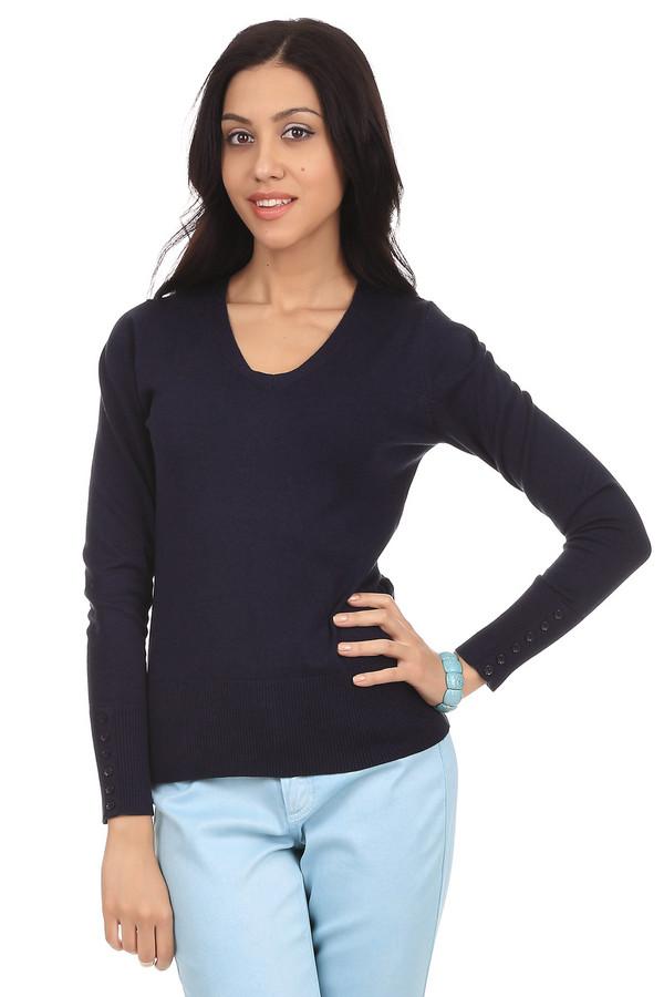 Пуловер PezzoПуловеры<br>Модный женский пуловер от бренда Pezzo. Это пуловер темно-синего цвета, сделанный материала, в состав которого входит смесь хлопка, вискозы, полиамида и спандекса. Изделие дополнено: v-образным вырезом, длинным рукавом на широкой резинке с небольшими пуговицами под цвет пуловера, а также низом на резинке.<br><br>Размер RU: 46<br>Пол: Женский<br>Возраст: Взрослый<br>Материал: полиамид 17%, хлопок 48%, вискоза 32%, спандекс 3%<br>Цвет: Синий