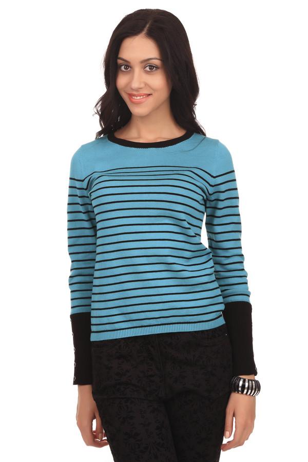 Пуловер PezzoПуловеры<br>Женский пуловер от бренда Pezzo. Это пуловер ярко-голубого цвета, в черную полоску. Изделие дополнено: круглым вырезом, длинным рукавом, а также пуговицами на рукавах. Кроме того на рукавах есть широкая резинка черного цвета. Данный пуловер сделан из 100% хлопка.<br><br>Размер RU: 42<br>Пол: Женский<br>Возраст: Взрослый<br>Материал: хлопок 100%<br>Цвет: Разноцветный