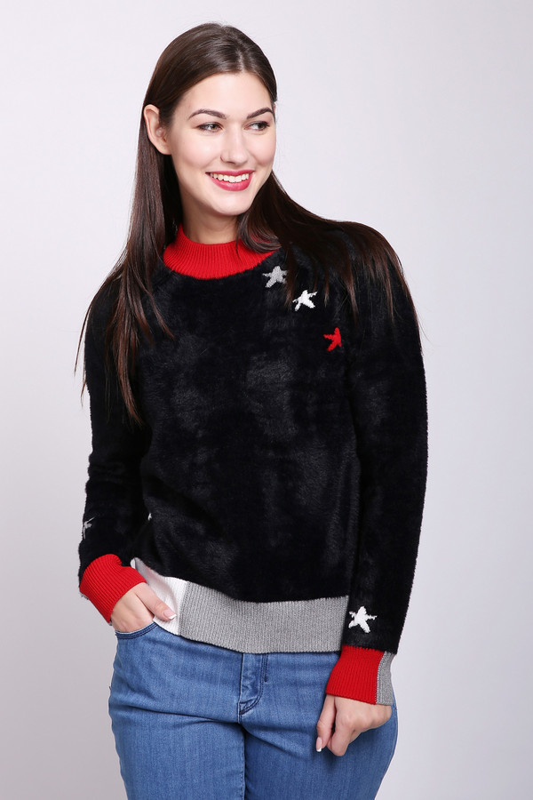 Пуловер OuiПуловеры<br>Пуловер женский черного цвета фирмы Oui. Модель выполнены прямым фасоном. Изделие дополнено круглым воротом, длинными рукавами реглан. Окружность ворота обшита бейкой красного цвета. Рукава и низ пуловера обшиты стягивающей манжетой. Ткань состоит из 20% хлопка, 80% полиамида. Сочетать можно с различными брюками.