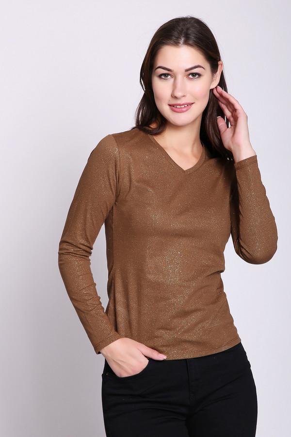 женская футболка с длинным рукавом pezzo, коричневая