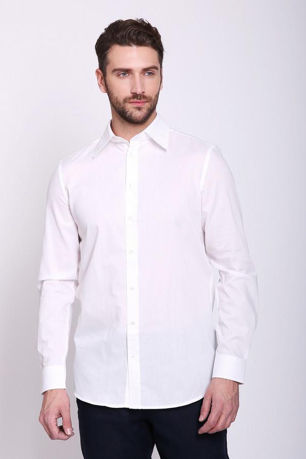 Рубашка с длинным рукавом Just ValeriДлинный рукав<br>Рубашка мужская белого цвета фирмы Just Valeri. Модель выполнена прямым покроем. Изделие дополнено откладным воротом на стойке, застежкана пуговицы, обшита планкой, втачными, длинными рукавами с манжетами на пуговицу, задними вертикальными вытачками, боковыми выемками. Подшита рубашка полукругом. Гармонировать можно с различными брюками, пиджаками. Ткань состоит из 456% полиэстера, 55% хлопка.