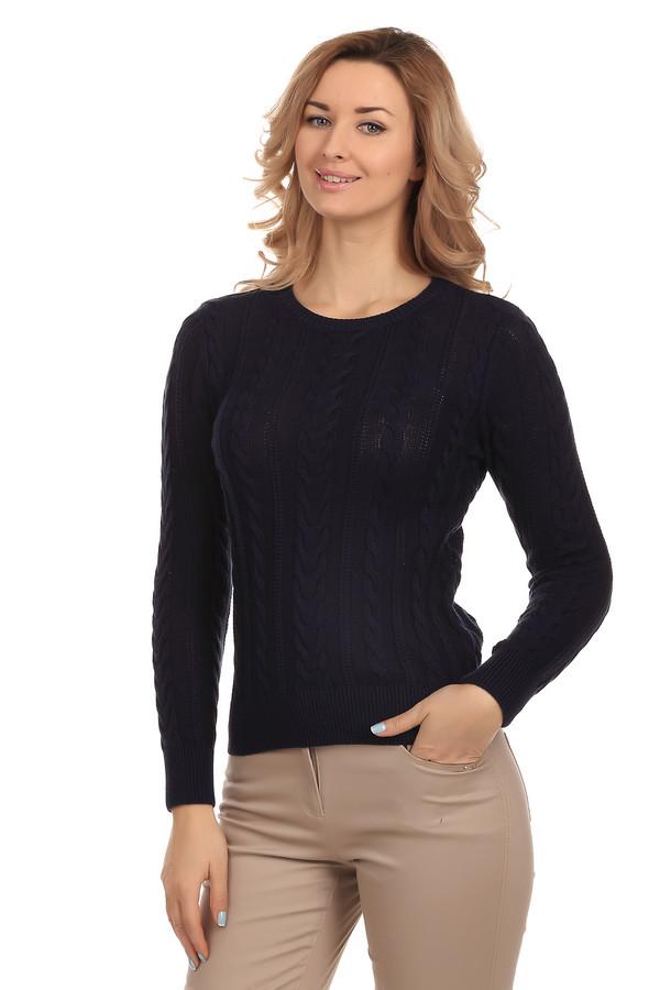 Пуловер PezzoПуловеры<br>Стильный женский пуловер темно-синего цвета от бренда Pezzo. Это пуловер изготовленный из 100% натурального хлопка. Изделие дополнено круглым вырезом, длинным рукавом и вязанными вертикальными узорами.<br><br>Размер RU: 46<br>Пол: Женский<br>Возраст: Взрослый<br>Материал: хлопок 100%<br>Цвет: Синий