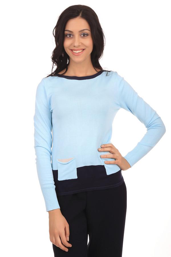 Пуловер PezzoПуловеры<br>Стильный женский пуловер голубого цвета. Это пуловер бренда Pezzo, который пошит из вискозы с добавлением полиамида. Изделие дополнено: вырезом-лодочкой с темно-синей окантовкой, длинным рукавом и двумя передними карманами с бежевыми вставками. Низ пуловера также темно-синий.<br><br>Размер RU: 48<br>Пол: Женский<br>Возраст: Взрослый<br>Материал: полиамид 19%, вискоза 81%<br>Цвет: Голубой