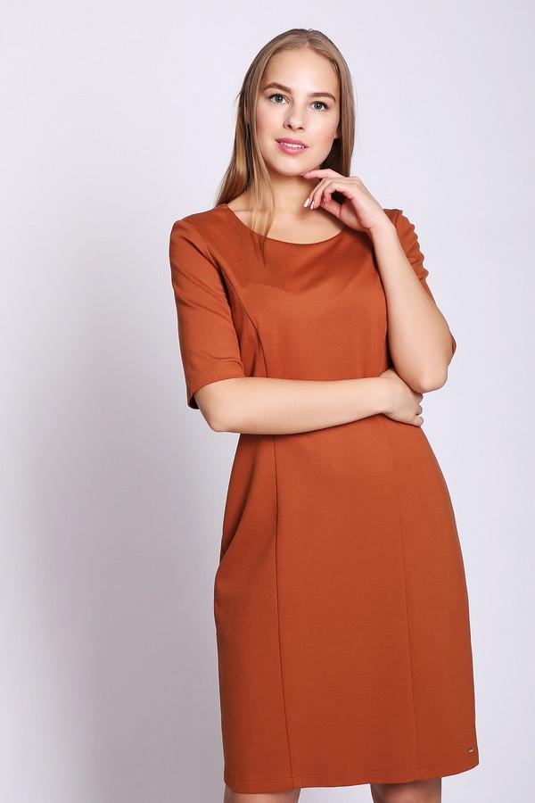 Платье TaifunПлатья<br>Платье оранжевого цвета фирмы Taifun. Модель выполнена приталенным фасоном. Изделие дополнено округлым воротом, втачными, короткими рукавами, задней застежкой молния. Приталенное платье подчеркивает вашу фигуру, благодаря среднему шву и рельефам, выходившие из проймы. Состав ткани состоит из 7% эластана, 65% вискозы, 28% полиамида. Подкладка - полиэстер. Такая модель хорошо сидит по фигуре. Платье можно носить по разным поводам.