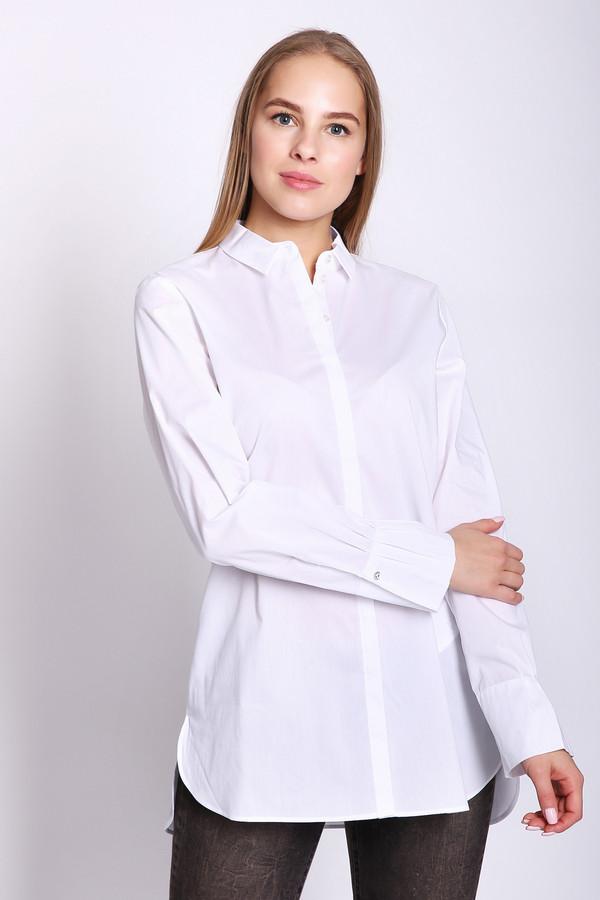 Блузa Gerry WeberБлузы<br>Блуза женскаябелого цвета фирмы Gerry Weber. Модель выполнена прямым покроем. Изделие дополнено откладным воротником на стойке, застежка на пуговицы, втачными, длинными рукавами с манжетами на пуговицу. Состав ткани состоит из 3% эластана, 68% хлопка, 29% полиамида. Такая модель прекрасно Будет гармонировать с брюками, юбками, жакетами, жилетами. Блуза белого цвета всегда обновит ваш образ.