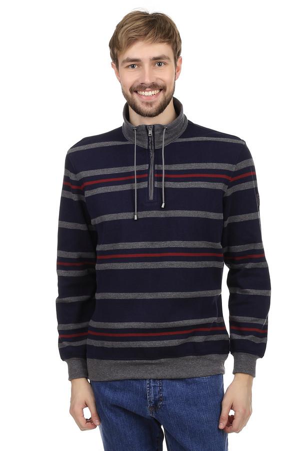 Джемпер BraxДжемперы<br>Теплый мужской джемпер от немецкого бренда Brax прямого кроя. Изделие дополнено: воротником-стойка и длинными рукавами. Воротник застегивается на молнию и затягивается резинкой. Джемпер оформлен в серо-синюю и тонкую красные горизонтальную полоску.<br><br>Размер RU: 46-48<br>Пол: Мужской<br>Возраст: Взрослый<br>Материал: полиэстер 25%, хлопок 75%<br>Цвет: Разноцветный