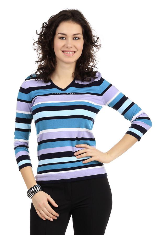Пуловер PezzoПуловеры<br>Модный женский пуловер от бренда Pezzo. Это пуловер в полоску, представленный нам в голубых и сиреневых тонах. Изделие дополнено: v-образным вырезом и рукавом три четверти. Кроме того, данный пуловер на груди украшен небольшим количеством серебристых страз.<br><br>Размер RU: 44<br>Пол: Женский<br>Возраст: Взрослый<br>Материал: полиамид 7%, хлопок 54%, вискоза 36%, спандекс 3%<br>Цвет: Разноцветный