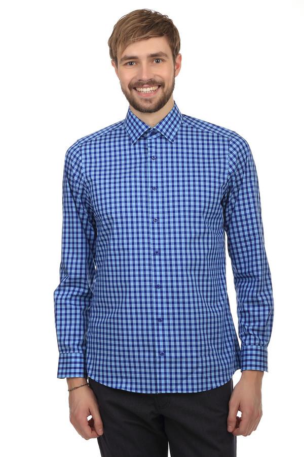 Рубашка с длинным рукавом OlympДлинный рукав<br>Облегающая стильная рубашка в трендовую клетку синего цвета. Силуэт отлично подойдет к  джинсам  или узким  брюкам . Яркая и стильная рубашка выполнена из натурального хлопка с небольшим добавлением эластана, благодаря чему ткань прочная и эластичная. Фирменная качественная яркая рубашка - отличное решение на каждый день для каждого мужчины.   body fit<br><br>Размер RU: 44<br>Пол: Мужской<br>Возраст: Взрослый<br>Материал: эластан 3%, хлопок 97%<br>Цвет: Разноцветный