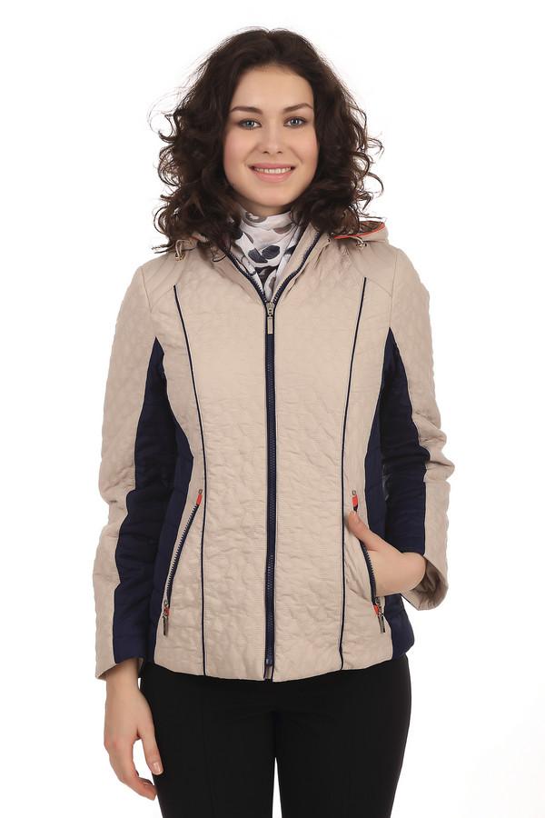 Куртка PezzoКуртки<br>Женская стеганная куртка от бренда Pezzo. Это куртка бежевого цвета, с темно-синими вставками на рукавах и по бокам, а также молнией темно-синего цвета. Куртка дополнена передними боковыми карманами на молниях, с оранжевыми вставками. Также, оранжевые вставки есть на воротнике. Материал - 100% полиэстер.<br><br>Размер RU: 50<br>Пол: Женский<br>Возраст: Взрослый<br>Материал: полиэстер 100%<br>Цвет: Синий
