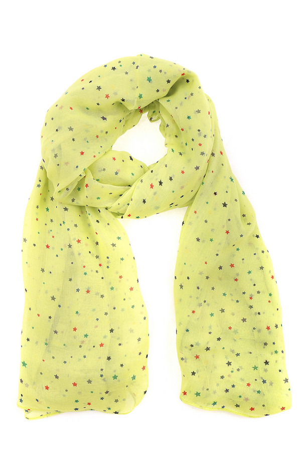 Шарф PezzoШарфы<br>Легкий женский шарф от бренда Pezzo. Это шарф пастельного светло-желтого оттенка, украшенный звездочками красного, синего, серого и зеленого цвета. Изделие изготовлено из 100% вискозы. Этот шарф идеально дополнит любой повседневный образ.<br><br>Размер RU: один размер<br>Пол: Женский<br>Возраст: Взрослый<br>Материал: вискоза 100%<br>Цвет: Жёлтый