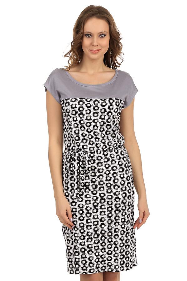 Платье PezzoПлатья<br>Фирменное платье от Pezzo. Это легкое платье длиной до колена, с глубоким круглым вырезом и коротким рукавом. Платье пошито из ткани с неординарным принтом, а плечевая его часть выполнена в сером цвете. Изделие дополнено тонким тканевым поясом расцветки платья. Материал этого платья - 100% вискоза.<br><br>Размер RU: 40<br>Пол: Женский<br>Возраст: Взрослый<br>Материал: вискоза 100%<br>Цвет: Разноцветный