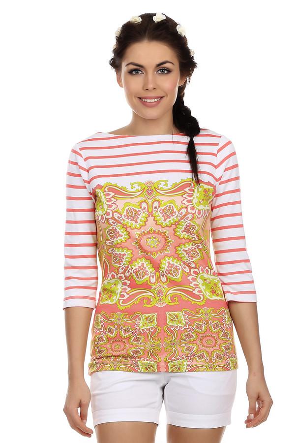 Футболка PezzoФутболки<br>Стильная женская футболка от бренда Pezzo. Это футболка в бело-красную горизонтальную полоску, декорированная принтом орнамента в стиле барокко, выполненном в красных и желтых цветах. У данной модели рукав три четверти и вырез-лодочка. В состав материала, из которого пошита данная футболка, входит смесь вискозы и полиэстера, с добавлением эластана.<br><br>Размер RU: 46<br>Пол: Женский<br>Возраст: Взрослый<br>Материал: эластан 4%, полиэстер 38%, вискоза 58%<br>Цвет: Разноцветный