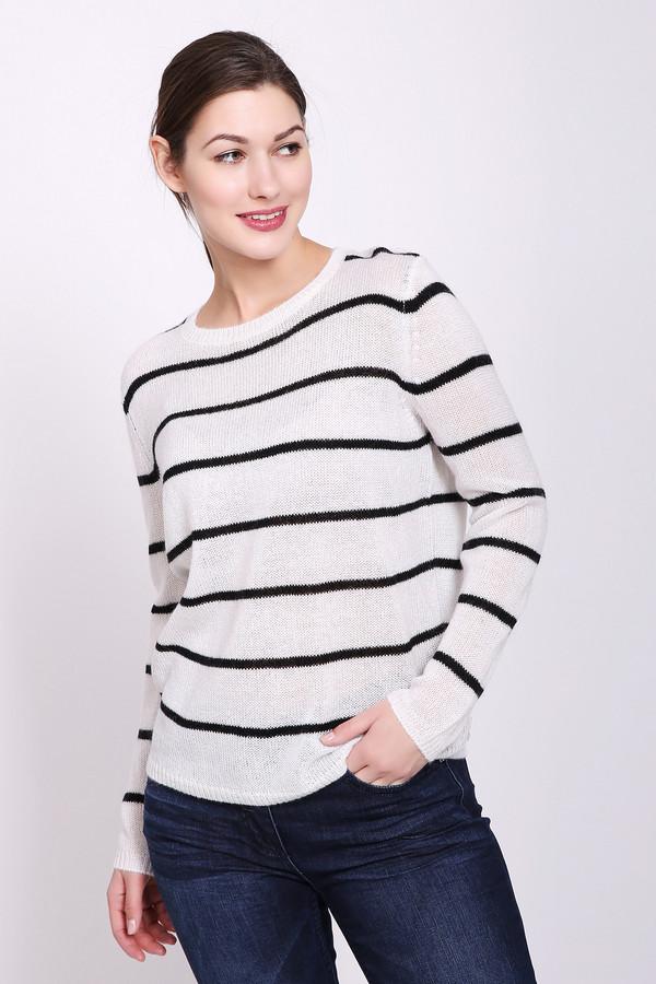 Пуловер TaifunПуловеры<br>Пуловер женский белого цвета от немецкого бренда Taifun. Модель выполнена прямым фасоном. Изделие дополнено округлым воротом, втачными, длинными рукавами. Ткань имеет полосатый принт. Состав ткани: 55% полиакрила, 30% полиамид, 15% мохера. Сочетать можно с различными брюками, юбками.