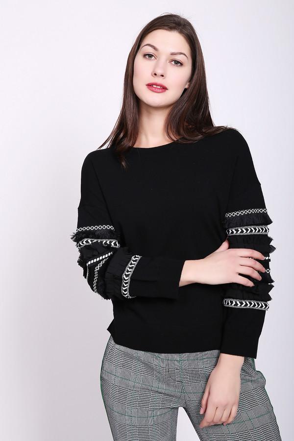 Пуловер TaifunПуловеры<br>Пуловер женский черного цвета от немецкого бренда Taifun. Модель выполнена прямым фасоном. Изделие дополнено округлым воротом, втачными рукавами. На рукава пришита различная тесьма с бахромой. Ткань состоит из 43% полиакрила, 35% хлопка, 22% полиамида. Сочетать можно с различными брюками.
