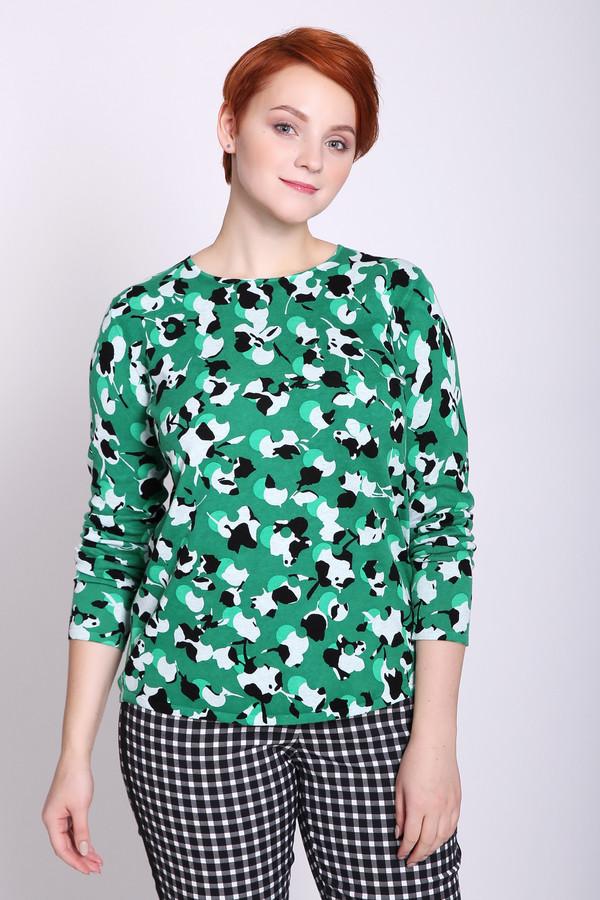 Пуловер Gerry WeberПуловеры<br>Пуловер женский зеленого цвета фирмы Gerry Weber. Модель выполнена прямым покроем. Изделие дополнено округлым воротом, втачными, длинными рукавами. Ткань имеет принт. Состав ткани: 100% хлопок. Гармонировать можно с различными брюками.