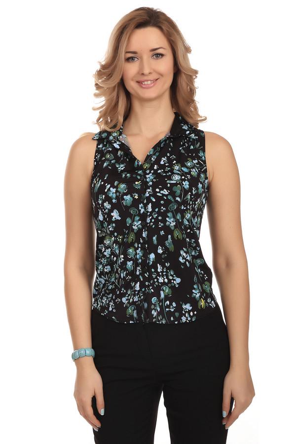 Блузa PezzoБлузы<br>Женственная от бренда Pezzo. Данная модель выполнена в черном цвете и дополнена цветочным принтом. Это блуза-безрукавка на пуговицах черного цвета. Изделие пошито из полиэстера с добавлением эластана.<br><br>Размер RU: 40<br>Пол: Женский<br>Возраст: Взрослый<br>Материал: эластан 8%, полиэстер 92%<br>Цвет: Разноцветный