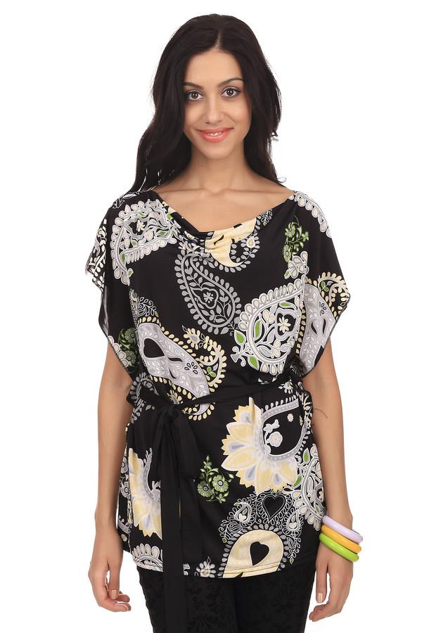 Блузa PezzoБлузы<br>Блуза Pezzo выполнена в цветовой гамме черного и серого оттенков. Украшена узорами турецкого огурца и разнообразных цветов. На талии фиксируется элегантным поясом из лент. В состав блузы входит полиэстер с незначительным добавлением эластина. Такой наряд будет гармонично смотреться, как с  леггинсами , так и с  джинсами . Подойдет для ежедневного использования и встреч с друзьями.<br><br>Размер RU: 46<br>Пол: Женский<br>Возраст: Взрослый<br>Материал: эластан 8%, полиэстер 92%<br>Цвет: Разноцветный