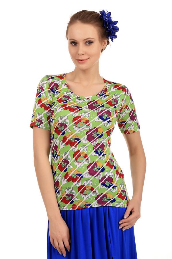 Футболка PezzoФутболки<br>Эпатажная женская футболка от бренда Pezzo. Данная футболка представлена в салатовом оттенке, с разноцветным цветочным принтом. У этой модели круглый вырез и рукав длиной до середины плеча. Материал - вискоза с добавлением эластана.<br><br>Размер RU: 40<br>Пол: Женский<br>Возраст: Взрослый<br>Материал: эластан 5%, вискоза 95%<br>Цвет: Разноцветный