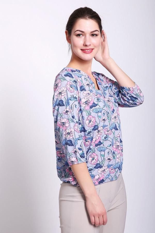 Блузa OlsenБлузы<br>Блуза женская серого цвета фирмы Olsen. Модель выполнена прямым фасоном. Изделие дополнено округлым воротом с V - образным вырезом, втачными рукавами 3/4 длины. В рукава и низ блузы вставлена эластичная тесьма. Ткань имеет разноцветный принт. Состав ткани: 50% хлопок, 50% модал. Сочетать можно с различными брюками, юбками.