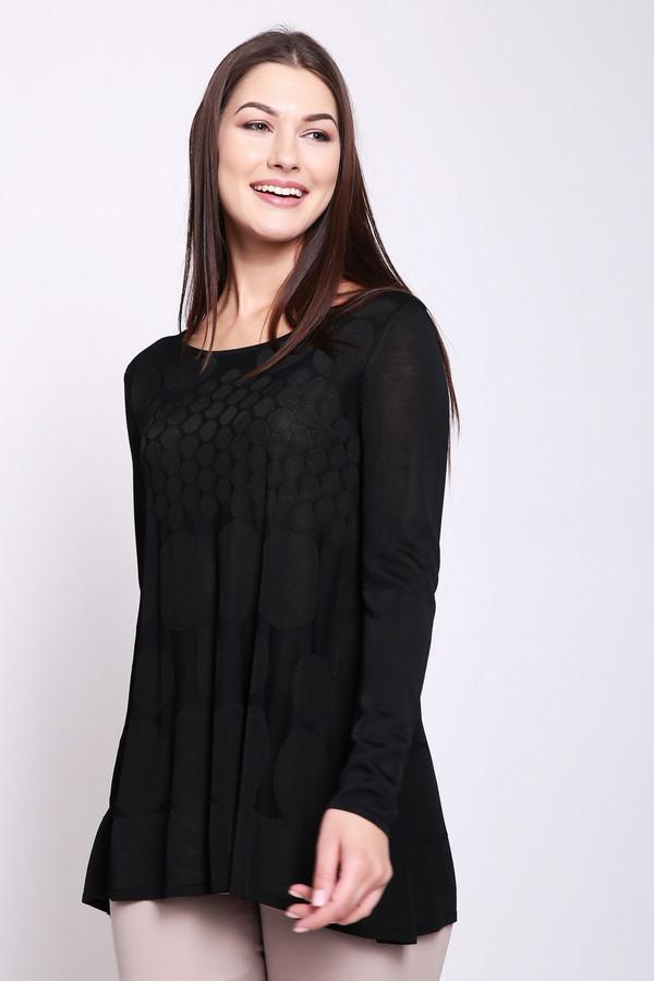 Пуловер Just ValeriПуловеры<br>Пуловер женский черного цвета фирмы Just Valeri. Модель выполнена прямым покроя. Изделие дополнено округлым воротом, длинными рукавами. Заканчивает пуловер баска. Такая модель удлинённого фасона. Ткань состоит из 100% района. Сочетать можно с различными брюками.